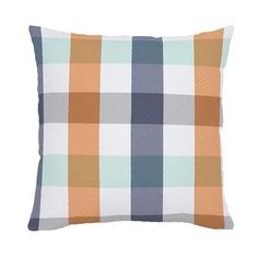 Navy and Orange Buffalo Check Throw Pillow made with care in the USA by Carousel Designs. Measures approximately square.