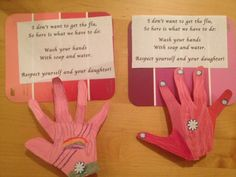 Girl Scout Daisy purple Petal Work - Respect Myself and Others - Instructions for how to make a hand washing sign during flu season and talk about respecting her body by keeping it clean and healthy Girl Scout Daisy Petals, Daisy Girl Scouts, Scout Mom, Girl Scout Troop, Girl Scout Brownie Badges, Girl Scout Activities, Purple Daisy, Girl Scout Crafts, Crafts For Kids