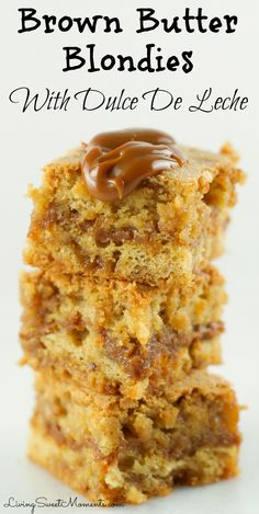 These incredible Brown Butter Blondies With Dulce De Leche are so delicious and irresistible. Butterscoth blondies with a creamy dulce de leche center. The perfect decadent dessert.