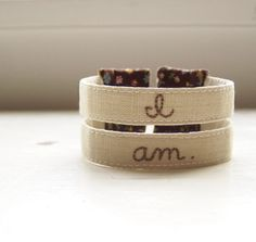Cuff bracelet fabric embroidery brown floral by PonderandStitch, $26.00