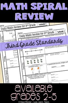 Math Spiral Review for 3rd Grade | Improve math skills with an easy-to-use daily spiral math review practice worksheet for third grade students. Use it for spiral review math warm up, math morning work, or even spiral math homework. #3rdgrademath #mathworksheets #mathactivities #spiralreview #morningwork #homeschool #commoncoremath