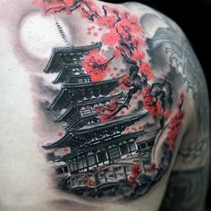 50 Japanese Temple Tattoo Designs For Men - Buddhist Ink Ideas Japanese Temple Tattoo, Japanese Back Tattoo, Japanese Tattoo Symbols, Japanese Tattoo Designs, Japanese Sleeve Tattoos, Tattoo Designs Men, Japanese Geisha Tattoo, Japanese Tattoo Women, Asian Tattoos