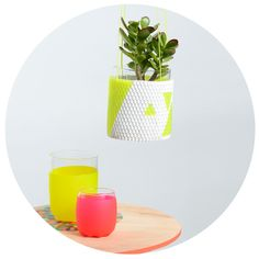 peaches + keen — Woven Bead Planter (white with yellow triangles) Peaches, Planters, Beads, Yellow, Triangles, Tableware, Succulents, Ribbon, Crafting