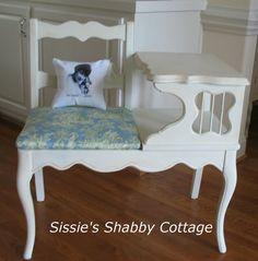 Old Telephone Table Redo. Retro Furniture, Recycled Furniture, Furniture Decor, Painted Furniture, Refinished Furniture, Vintage Telephone Table, Gossip Bench, Shabby Cottage, Shabby Chic Style