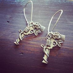 Silver Rose Pistol Earrings by PrettyLittleThingsKB on Etsy, $10.00