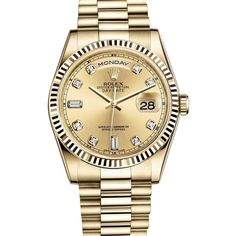 DAY-DATE PRESIDENT 36MM YELLOW GOLD WATCH WITH DIAMOND DIAL FLUTED... ($28,300) ❤ liked on Polyvore featuring jewelry, watches, gold watches, rolex jewelry, gold jewelry, gold diamond watches and gold jewellery
