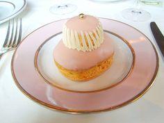 Ladurée, Religieuse à la Rose: Cream puff pastry, rose petal cream and fresh raspberries.