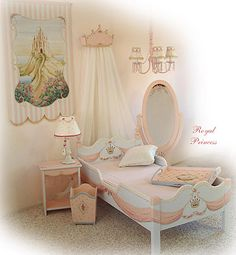 """Hand painted girl's room set by artist Marsha Bowers of Zulim Bowers Designs. """"Royal Princess"""""""