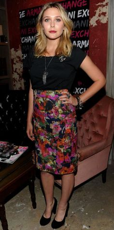 Look of the Day › October 9, 2011 WHAT SHE WORE The actress styled a printed Erdem pencil skirt with a black Acne tee, round-toe Carven heels, Chanel jewels and an A/X Armani Exchange watch at an N.Y.C. dinner.