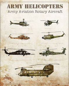 Aviation art print...Included in this print are the helicopters: Black Hawk, Chinook, Huey/Iroquois, Apache, Kiowa, Lakota, and Cobra.