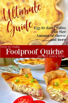 Perfect quiche every time! Exact egg-to-dairy ratios for different pie plate sizes..works every time! Easy quiche recipe included! Onion Quiche Recipe, Quiche Recipes, Easy Recipes For Beginners, Cooking For Beginners, Easy Quiche, Pan Sizes, What Recipe, Saute Onions, Dried Beans