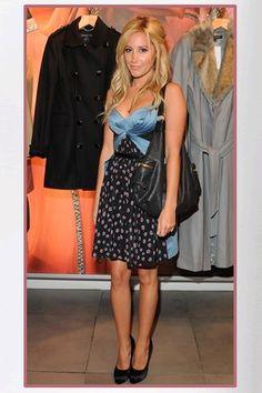 Buy it: Ashley Tisdale's Blue and Black Silk-Chiffon Print Dress