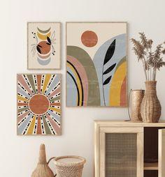 Boho Print Set of 3, Sun and moon Wall Decor, Mid Century Modern Black Orange Print Set, Digital Abstract Art, Sun Moon Art, Boho Wall art