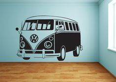"under the sea photo wall diy decorations. Click visit link above to find out more - Wall Decals: The Perfect ""Stick-on"" Design. Volkswagen Bus, Volkswagen Transporter, Vw Camper, Diy Wall Stickers, Wall Decals, Wall Art, Ds 3d, Surfer Room, Combi Ww"