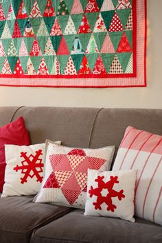 16 ideas for Handmade Christmas Sewing Projects including quilts, stockings, Red and white Christmas pillows, and ornaments #christmasSewing #ChristmasQuilts