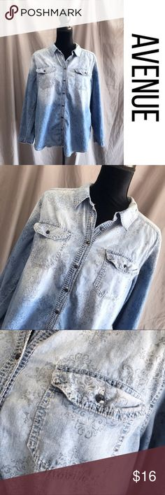 Avenue Plus Ombré Denim Chambray Shirt Top 14/16 Great condition, cool Top.  Size 14/16.  One missing button on the arm, doesn't detract from the look. Avenue Tops