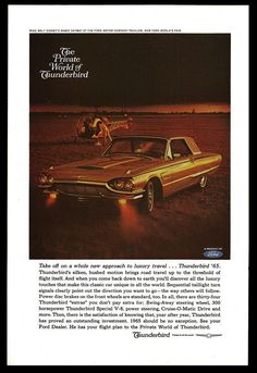 Ford Thunderbird Automobile Transportation Vintage 1964 Collectible Auto Car AD