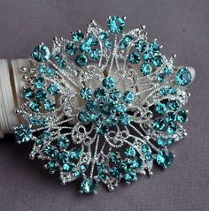 Teal Blue Aqua Blue Rhinestone Brooch Crystal Wedding Bridal Brooch Bouquet Cake Decoration Hair Comb Shoe Clip Supply BR235 by yourperfectgifts on Etsy https://www.etsy.com/listing/129910400/teal-blue-aqua-blue-rhinestone-brooch