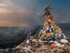 """Haunting """"Trashion"""" Gowns Illustrate Senegal's Pollution Problem 