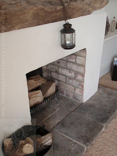 simple rustic fireplace - The Paper Mulberry: Mid September - a feast for the se .simple rustic fireplace - The Paper Mulberry: Mid September - a feast for the senses!These Two-Sided Fireplaces Would Easily Make Rustic Fireplace Decor, Cottage Fireplace, Fireplace Logs, Rustic Fireplaces, Fireplace Remodel, Fireplace Design, Empty Fireplace Ideas, Painted Fireplaces, Simple Fireplace