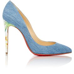 Christian Louboutin Women's Pigalle Follies Pumps (€620) ❤ liked on Polyvore featuring shoes, pumps, heels, christian louboutin, denim, blue, high heel shoes, denim heels pumps, blue stilettos and high heeled footwear