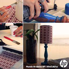 Para dar um toque especial na sua casa! Você só precisa de cola, papel, tinta, impressora, um abajur antigo e alguns minutinhos! #mundodeideiasHP #vailaefaz #DIY #abajur #decor #printable