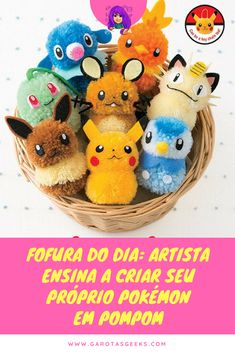 Make 32 different adorable pom pom Pokemon with this beautifully photographed and illustrated, full-color DIY craft book. All of your favorites, Pikachu, Eevee, Pokemon Craft, Pokemon Gifts, Pokemon Party, Pokemon Birthday, Kids Crafts, Cute Crafts, Book Crafts, Crafts To Make, Pom Pom Crafts