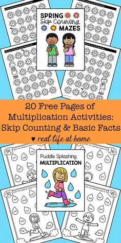 Basic Multiplication Facts Practice with 20 Free Printables of Multiplication Worksheets that focus on skip counting and recognizing basic facts Free Printable Multiplication Worksheets, Multiplication Facts Practice, Math Facts, Multiplication Strategies, Maths, Math Fractions, School Worksheets, Math Graphic Organizers, Skip Counting