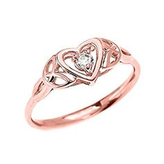 Dainty 10k Rose Gold Trinity Knot Heart Solitaire White Topaz Engagement and Proposal Ring