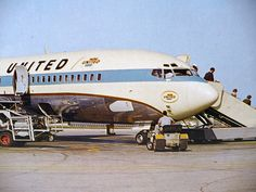 Vintage School Poster - United Airlines Airplane - Boeing 727 - 1960s SVE Picture-Story Study Print. $12.95, via Etsy.