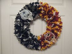 nfl house divided | 18 NFL House Divided Fabric Wreath by burt7 on Etsy