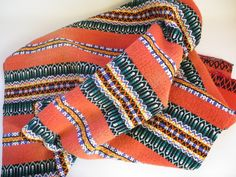 Vintage Woven Bright Wool Decor, Antique Tribal Throw Blanket Hand Woven Vintage Throw, Traditional Tribal Folk Art  #2-18