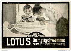 Original-Werbung/ Anzeige 1909 - LOTUS SCHWÄMME AUS ST. PETERSBURG - ca. 80 x 60 mm