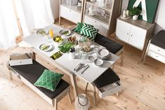 Voelkel Spot Collection, Extending Table with Self Storing Leaves. There is a recess In the middle of the tabletop, stores herbs, cutlery, napkins, napkins, crayons, or accessories. The recess can be closed at any time.