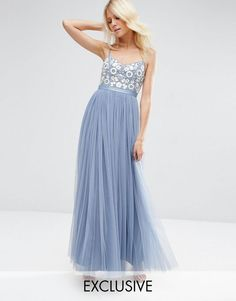 Needle & Thread Embroidered Bust Tulle Maxi Dress