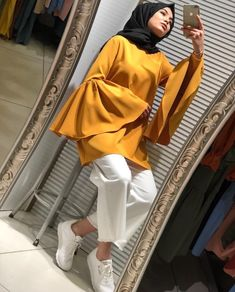 How to style the yellow color with your hijab : How to style the yellow color wi… How to style the yellow color with your hijab : How to style the yellow color with your hijab – Just Trendy Girls Hijab Casual, Hijab Chic, Street Hijab Fashion, Muslim Fashion, Modest Fashion, Mode Outfits, Fashion Outfits, Modele Hijab, Hijab Stile