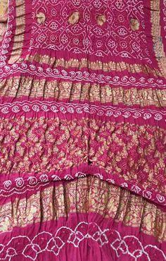 Pink Pure Handloom Banarasi Bandhani Georgette Saree Bandhani Dress, Sari Dress, Floral Print Sarees, Printed Sarees, Georgette Sarees, Handloom Saree, Bandhini Saree, Silk Sarees Online Shopping, Sari Design