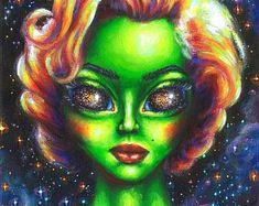 Original acrylic painting on canvas board, unique artwork, alien Marilyn Monroe,. - Painting Ideas On Canvas Alien Painting, Trippy Painting, Surrealism Painting, Acrylic Painting Canvas, Canvas Artwork, Canvas Prints, Art Prints, Alien Face Paint, Trippy Alien