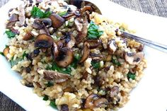 toasted brown rice with mixed mushrooms, spinach & thyme. looks time consuming but may be nice for a weekend meal.
