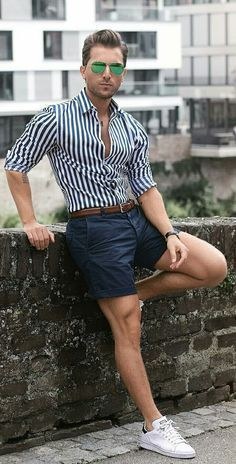 shorts & shirt outfit ideas for men   shorts & shirts looks for men #mens #fashion #street #style #outfitideas