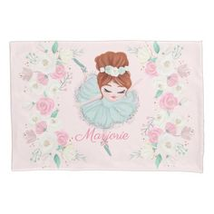 Personalized Redhead Ballerina Pink Floral Pillow Case   redhead highlights, redhead kids, character inspiration redhead #redheadsrock #redheadedbeauty #redheadgirls, 4th of july party