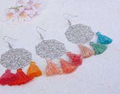 Colorful tassel earrings, silver filigree tassel earrings, summer jewelry, handmade hippie earrings, bohemian style, Gypsy, Bollywood, fun