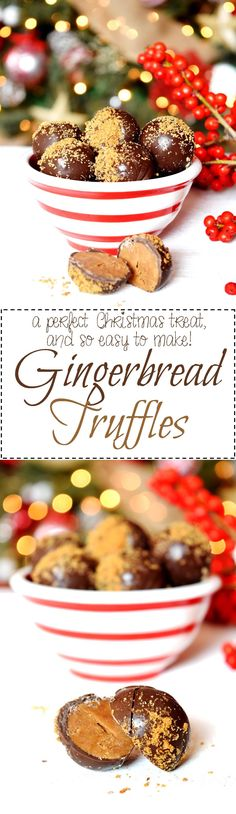 Gingerbread Truffles - Nothing compares to the warming and comforting taste and smell of gingerbread at Christmastime.  These Gingerbread Truffles are the perfect bite-sized treat for sharing.  And, they make a perfect bring-along treat to any festive party!