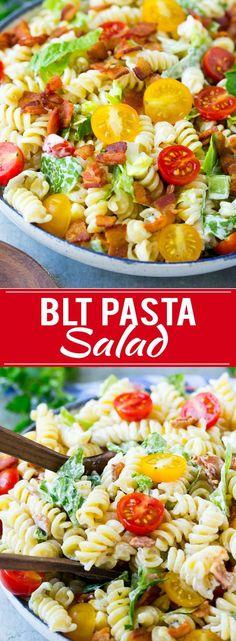 Blt pasta salad recipe easy pasta salad recipe bacon pasta s Easy Pasta Salad Recipe, Easy Salad Recipes, Pasta Recipes, Cooking Recipes, Healthy Recipes, Bacon Recipes, Easy Salads, Healthy Snacks, Chicken Recipes