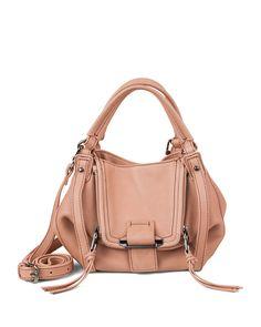 Mini Jonnie Leather Hobo Bag, Coral - Kooba