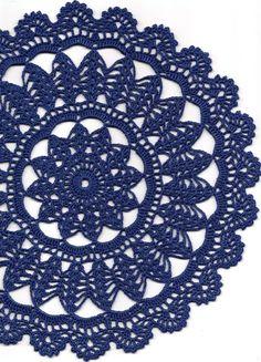 Crochet doily, lace doily, navy blue