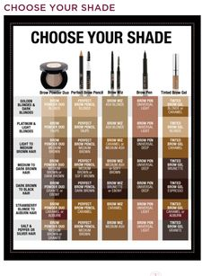 Anastasia Beverly hills brow products/color matching chart