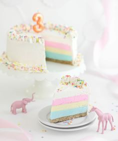 Sprinkle Bakes: Birthday Cheesecake : Beautiful Tri-Color Vanilla Bean Cheesecake with Vanilla Bean Buttercream Frosting and Confetti Sprinkles. I love the effect of the colored layers!