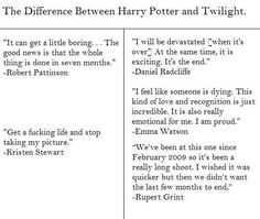 Difference between filming HP and Twilight