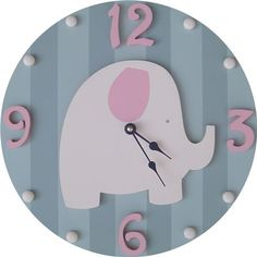 Pink and Grey Elephant Wall Clock